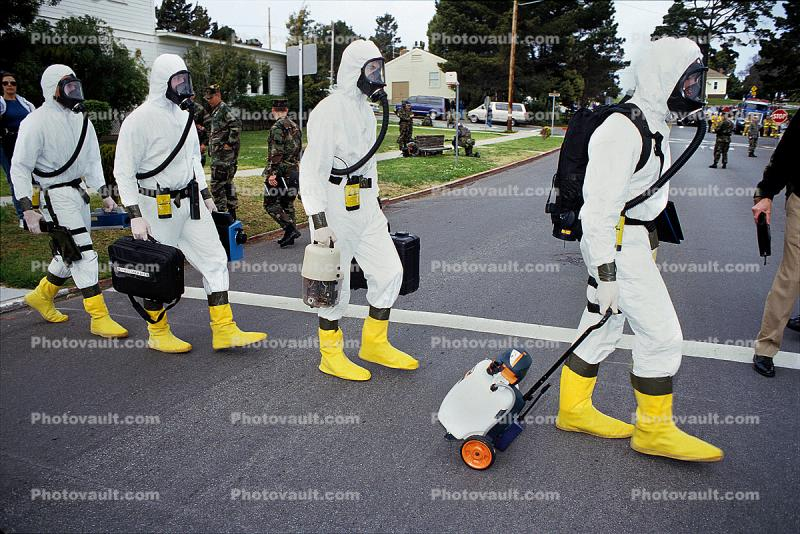 chemical warfare, biological, man, boots, suits, Operation Kernel Blitz, Monterey, Abbey Road, urban warfare training