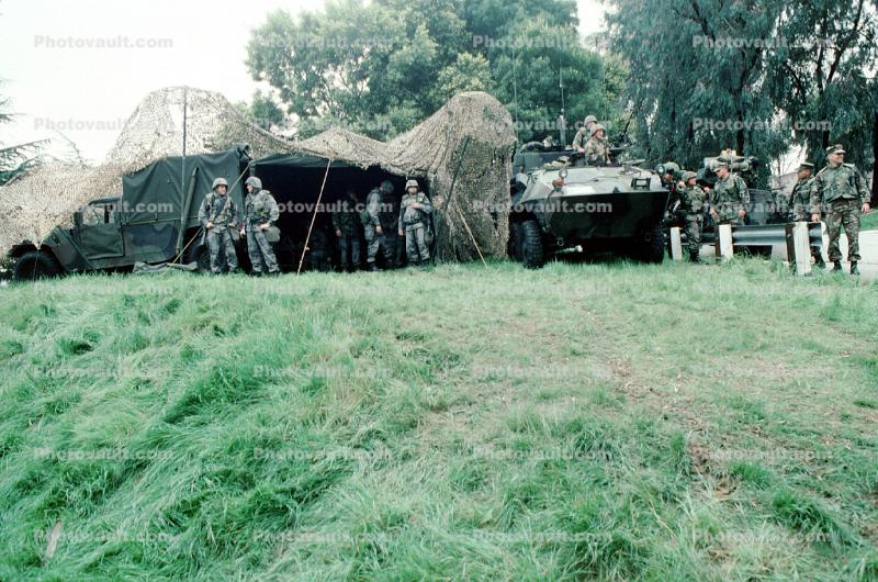 Bivouc, Tent, Camouflage, LAV-25, Wheeled Tanks, canon, vehicle, Operation Kernel Blitz, urban warfare training, Troops