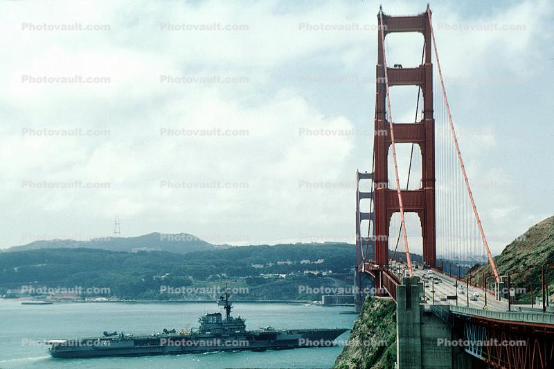 Golden Gate Bridge, USS Coral Sea, CV-43, USN, United States Navy, Midway-class aircraft carrier