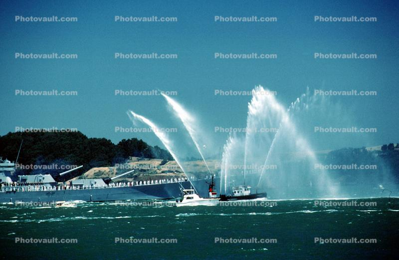 Fireboat Phoenix welcoming the USS Missouri, Spraying Water,  (BB-63)