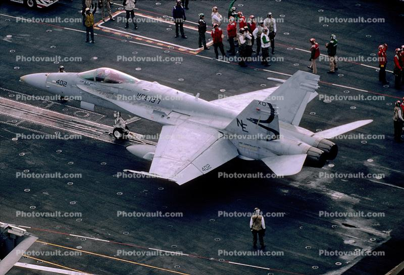 VFA-137, 402, McDonnell Douglas F-18 Hornet, ready for catapult take-off, USS Constellation CV-64