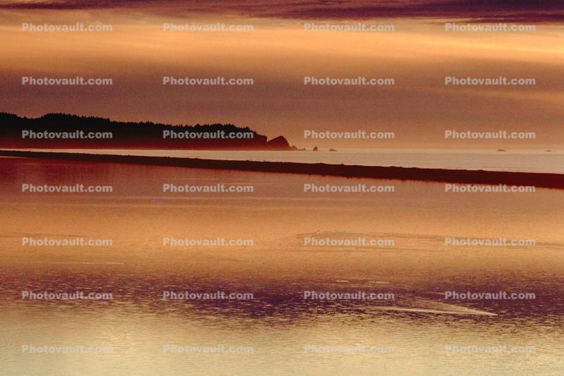 Sunset, shoreline, seaside, coastline, coastal, coast, lagoon, Humboldt County, Pacific Ocean