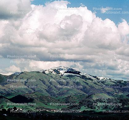 Mount Diablo in the Snow, snow covered, winter, wintertime, cumulus clouds