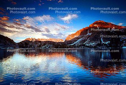 mountain, Sierra-Nevada, lake, reflection, clouds, sunset, water
