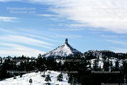 Butte, Mesa, snow, ice, cold, pyramid, landmark