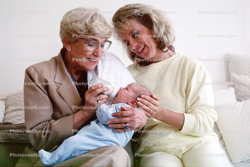 Grandmother, Mother, Love, Kiss, Bottle Feeding, newborn