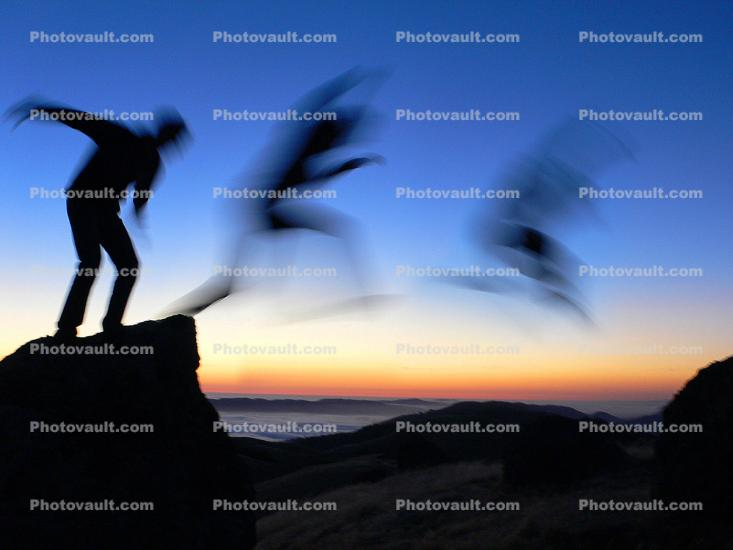 Jump, Leap, evening, sunset, Mount Tamalpais