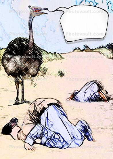 Ostrich, Head Buried in the Sand, Bury Your Head In the Sand, Businessman, Businesswoman, Paintography