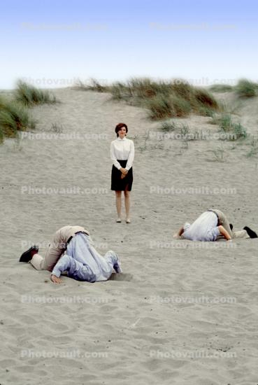 Head Buried in the Sand, Bury Your Head In the Sand, Businessman, Businesswoman