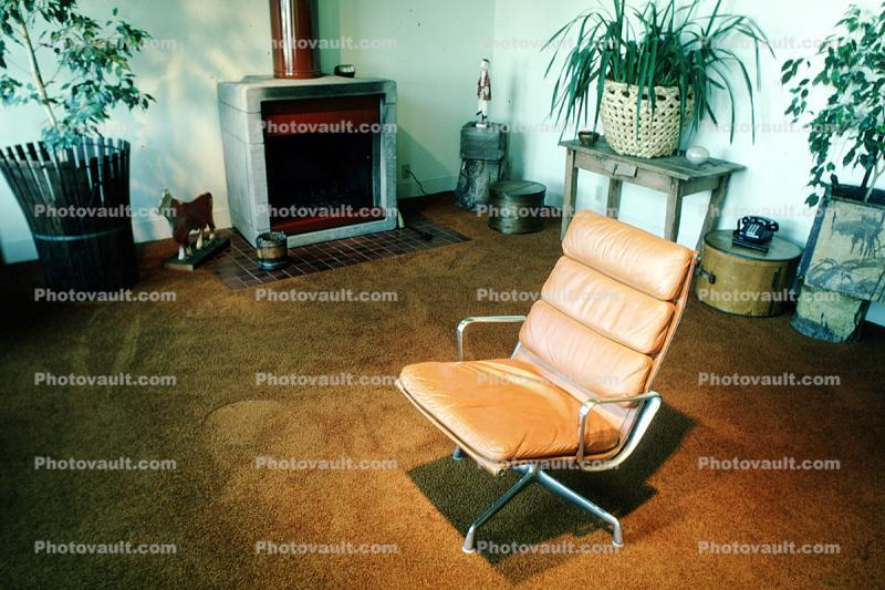 Leather Chair, fireplace, carpet, Furniture, potted plants, 1979, 1970's