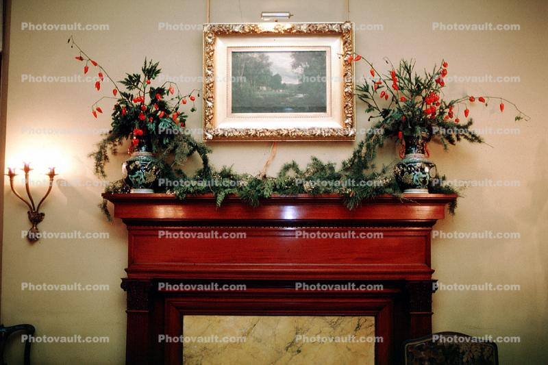 Fireplace, Flower Arrangements, framed artwork, mantle