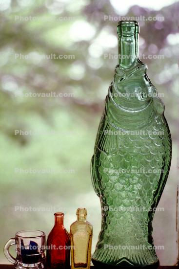 Glass Bottles, mug, empty, fish bottle