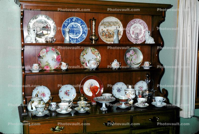 Cupboard, Dishes, ornate, opulent, Wetzels Anniversary, September 1967, 1960s