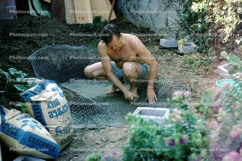 Making a cement goldfish pond, Pacific Palisades, California, 1970's
