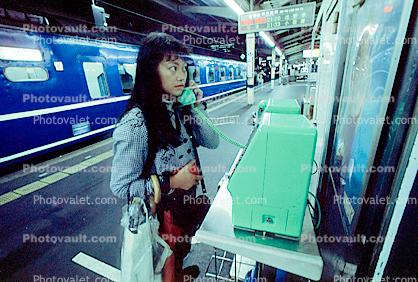 Woman, Public Phone, Train