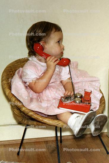 Girl, Dial Phone, Playing, Chair, Seat, Dress, 1950's