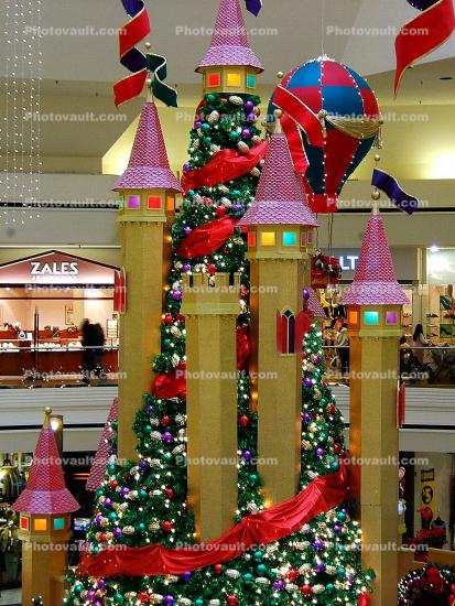Castle, Christmas Tree, Towers, Shopping Center, Fairytale, Flags, Decorations, Ribbons