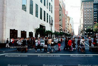 Shoppers, Crossing, Crosswalk, Downtown, Busy, Crowded, Union Square, crosswalk