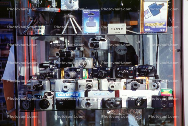 Window Display, Camera Store, Film Cameras, Olympus, Yashica, September 2002