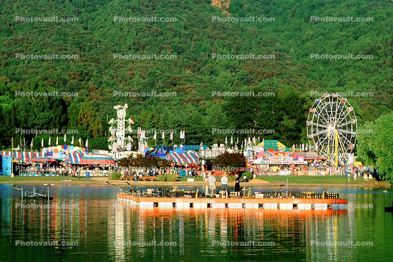 Lake, water reflection, raft, Ferris Wheel, Marin County Fair, California
