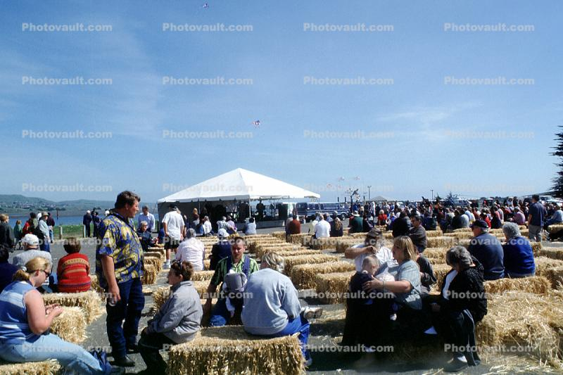 Bales, Tent, People, Bodega Bay, Seafood Festival, Sonoma County, California, April 2002