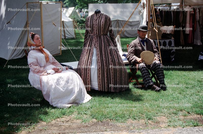 Woman, Man, costume, tents, Civil War re-enactment