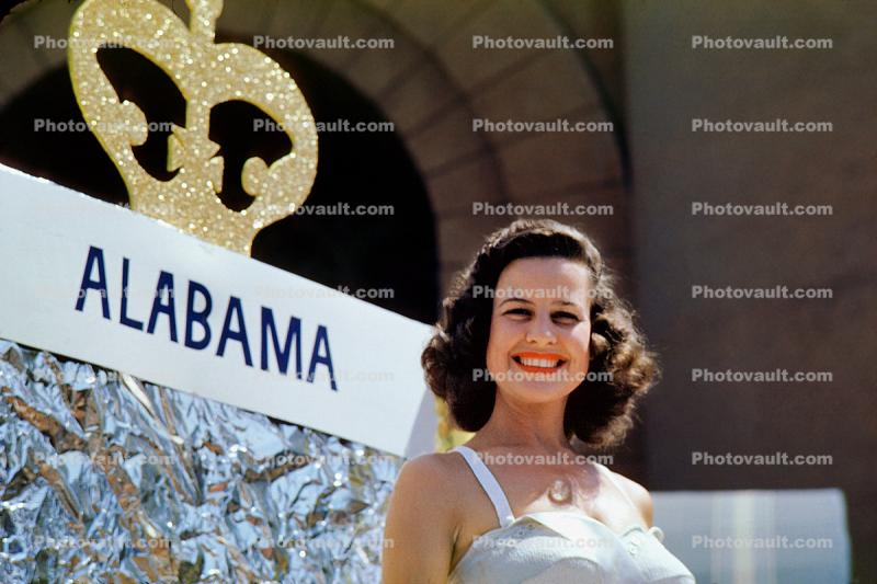 miss Alabama float, crown, Miss Universe Parade, Long Beach, California, July 1955, 1950's