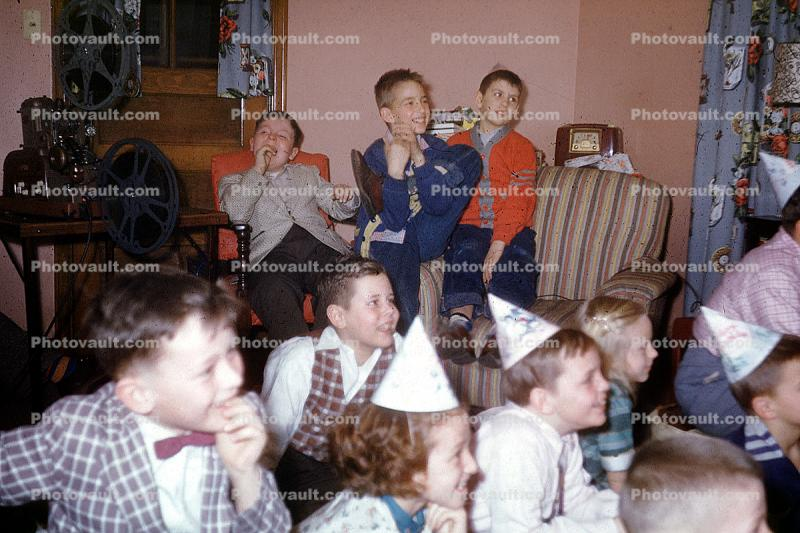Caps, Boys, bow tie, smiles, laughing, 1950s