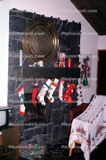 stockings, fireplace, 1940s