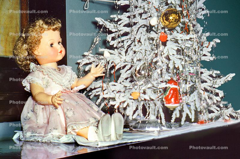 Frosted Christmas Tree, pink dress, decorations, girl doll, shoes, 1940s