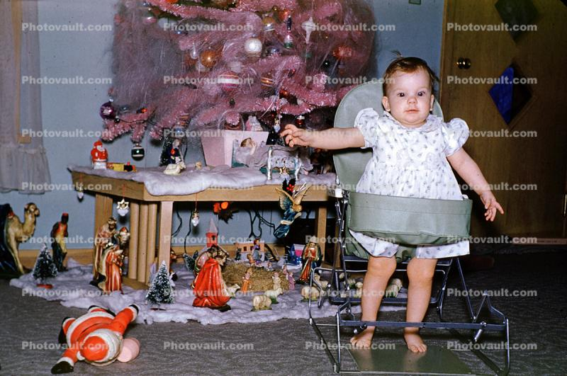 Girl, Baby, toddler, Walker, Manger Scene, 1950s