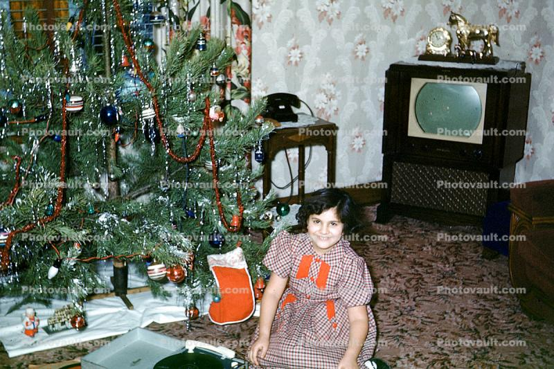 girl, tree, smiles, television, horse, clock, carpet, telephone, 1950s