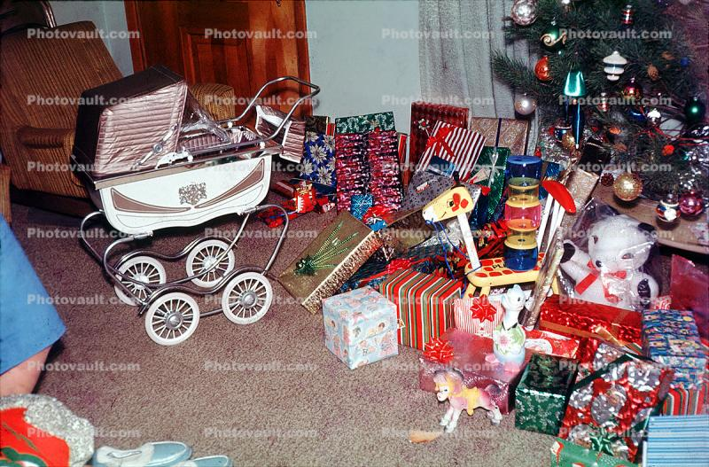 presents, baby carriage, Tree, Decorations, Ornaments, 1960s