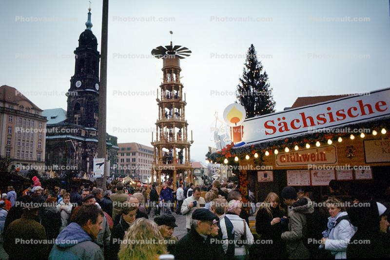 Sachsische, Church steeple, tower, crowds, people, outdoors