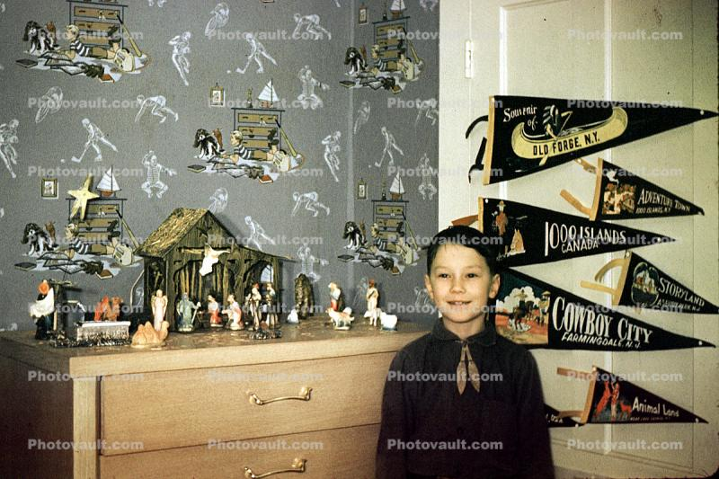 Boy, sports wallpaper, banners, Nativity Scene, 1950s