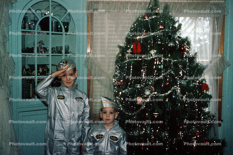 Space Cadets, Astronauts, Tree, Costume, Salute, Attention, presents, Decorations, Ornaments, 1960s