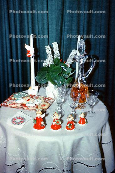 Cookies, decanter, glasses, angels, napkins, Table Setting, Cloth, Candles, 1950s