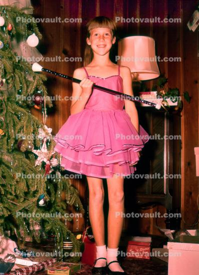 Girl, Baton Twirler, dress, Christmas Tree, Presents, 1950s
