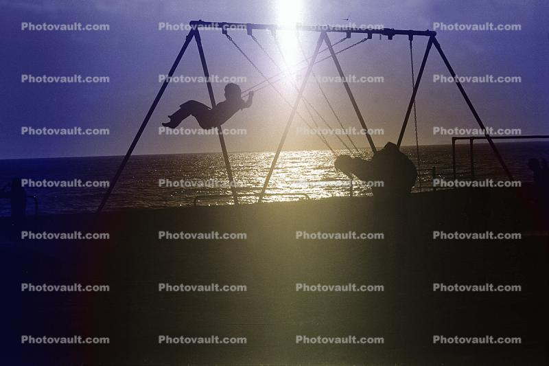 Swing Set, Beach, Pacific Ocean, Pacific Palisades, 1970s