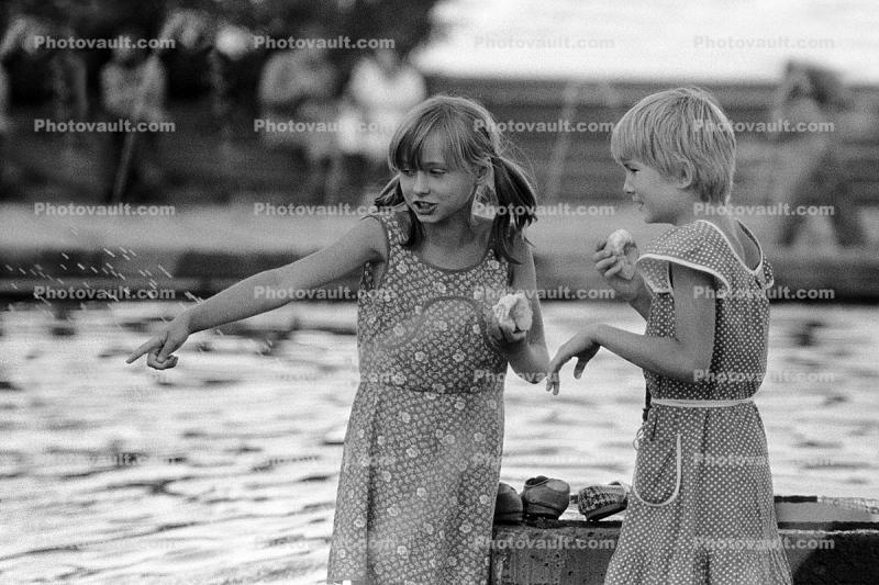 girls, pond, friends, Bratsk, Siberia, 1980s