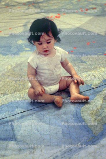 Child on Dymaxion Map, Baby, Toddler