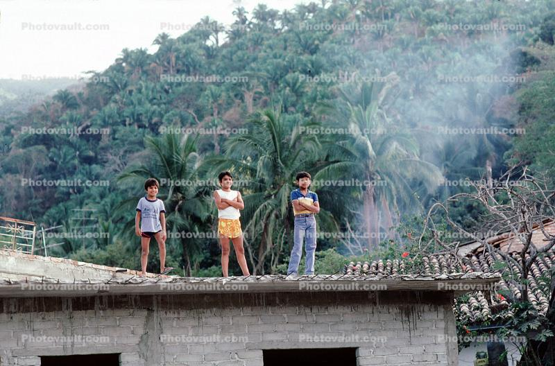 Boys, Roof, Smoke, Elementary School, Yelapa, Mexico