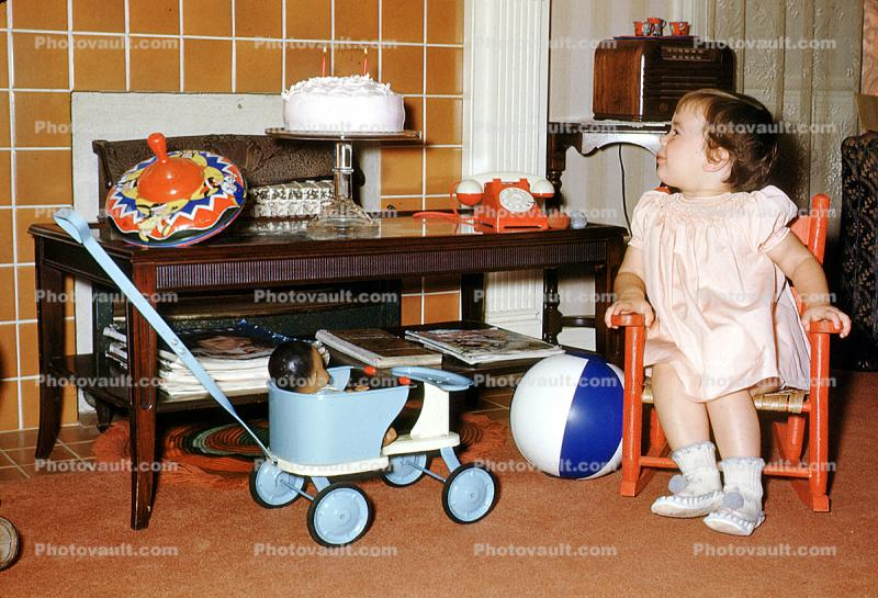 Carriage, Rocking Chair, Doll, Dial Telephone, Cake, Stroller, 1950's