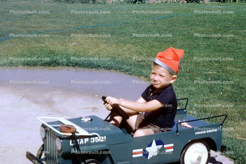 Jeep, Boy, Cap, Pedal Car, Army, 1950s