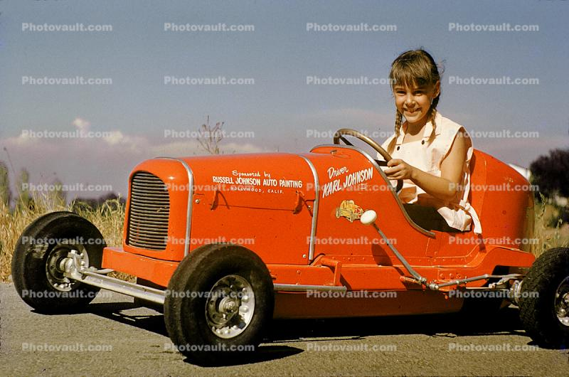 Girl, Smiles, Driving, Race Car, Russell Johnson Auto Painting, Pedal car, Hollywood California, 1950s