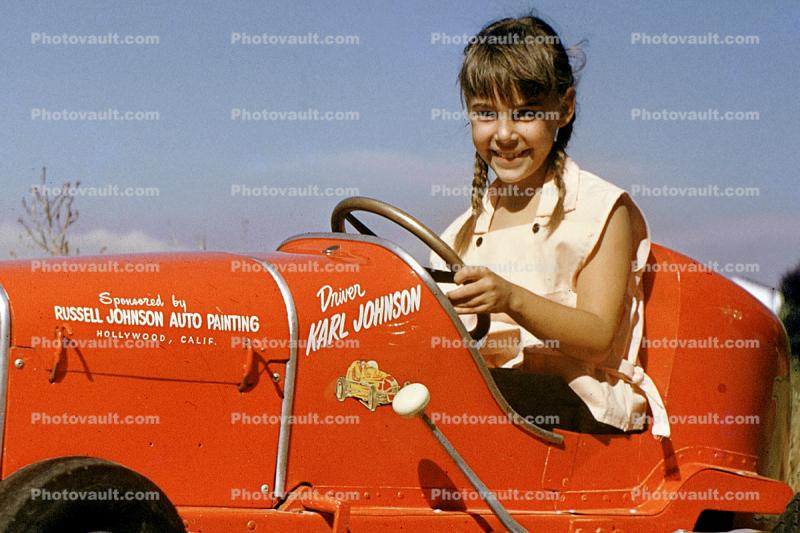 Russell Johnson Auto Painting, Girl, Smiles, Driving, Race Car, Pedal car, Hollywood California, 1950s