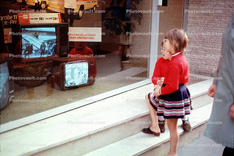 Girl watching TV, Television Screen, window shopping, October 1972, 1970s
