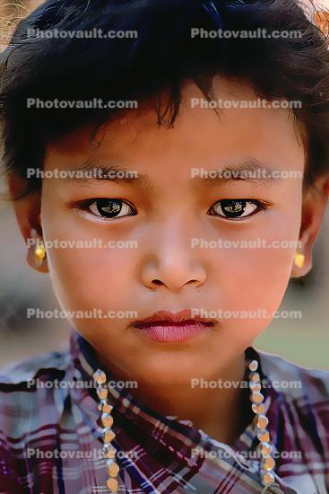 Girl, Necklace, Face, Himalayan Foothills, Nepal