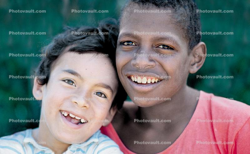 Two Smiling Boys, cute, friends