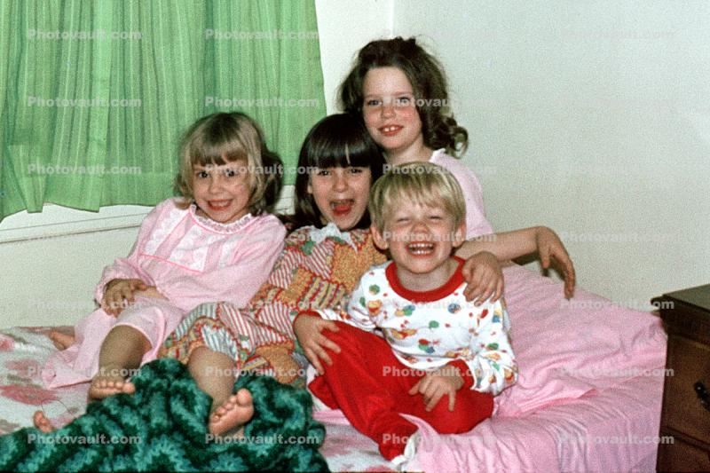 Kids on a Bed, Laughing, Cute, Pajama, smiles, smiling, nightwear, 1970s